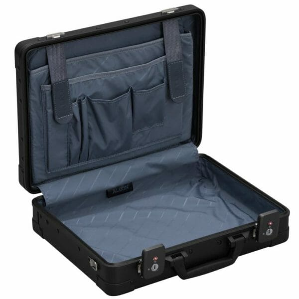 Black aluminum briefcase with storage pockets inside