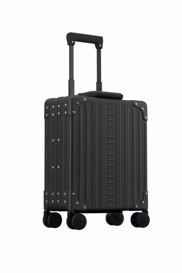 laptop case black briefcase with 4 wheels corner view