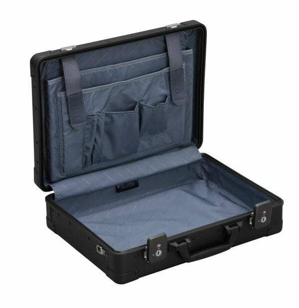 Black Briefcase with inserts made from aluminum