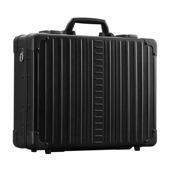 black aluminum briefcase with attached handle