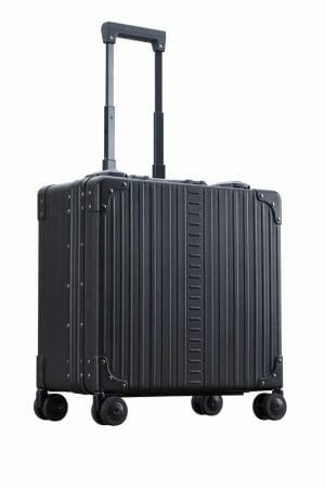 Vertical wheeled laptop case black side of briefcase
