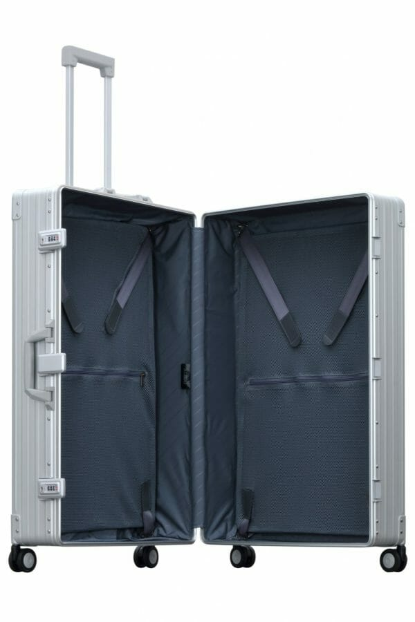 aluminum luggage opened