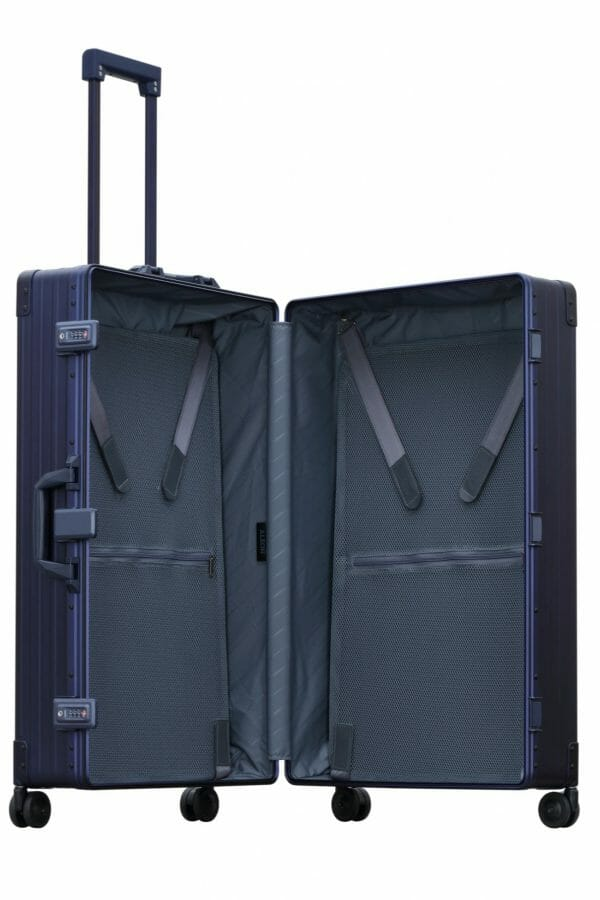 blue trunk style checked bag aluminum