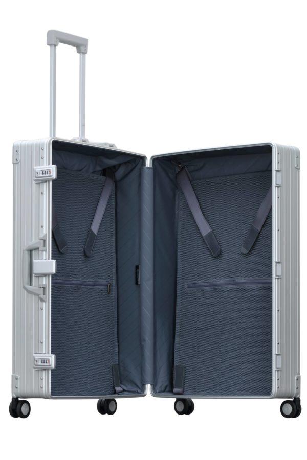 silver aluminum luggage