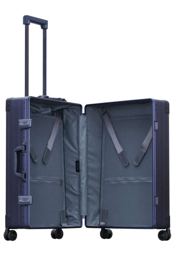 Blue checked luggage