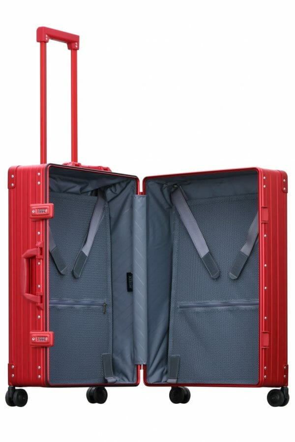red checked luggage