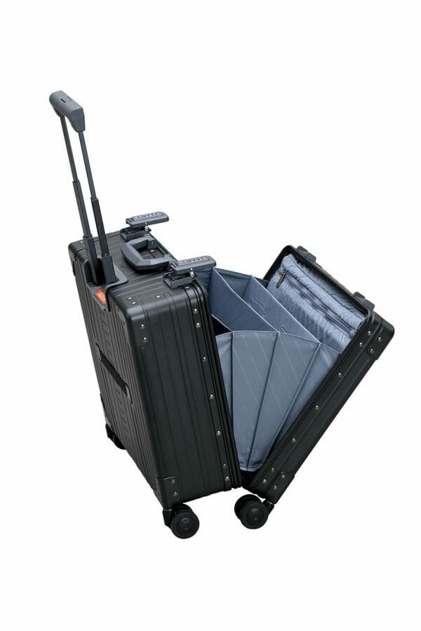 Vertical wheeled laptop case black briefcase that is vertical and splits open