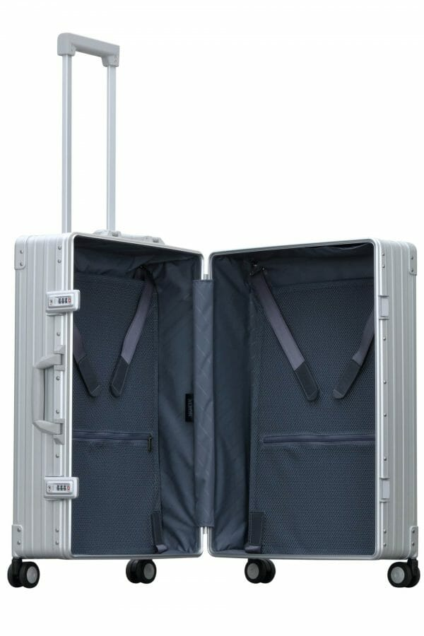 silver checked luggage