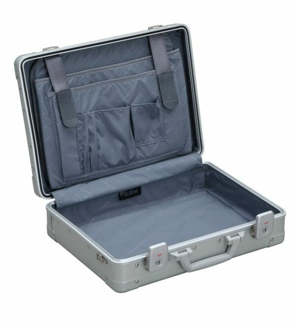 Aluminum attache briefcase open