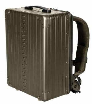 Bronze Aluminum Luggage backpack side view